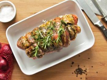 roast beef in a pan