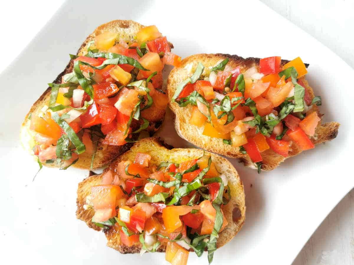 finished bruschetta recipe on a plate