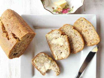 banana bread served on a plate