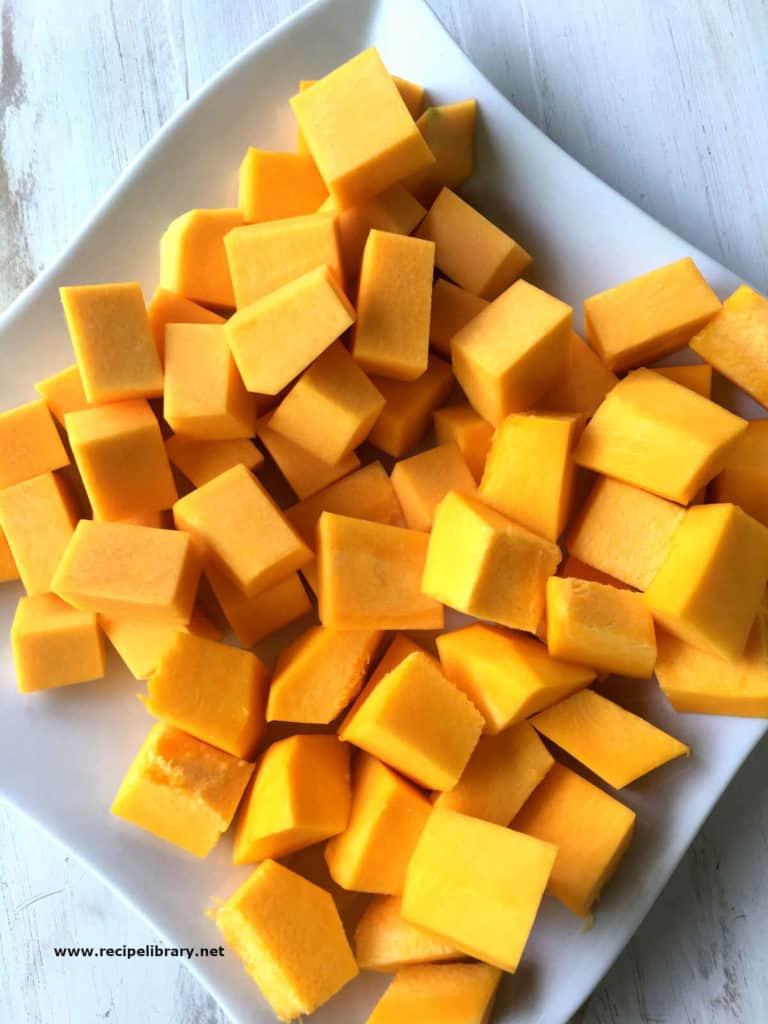 cut up pumpkin