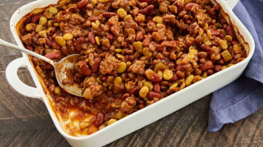 baked bean casserole ready to be served