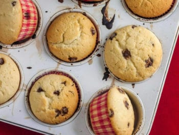 chocolate and banana muffins in a pan