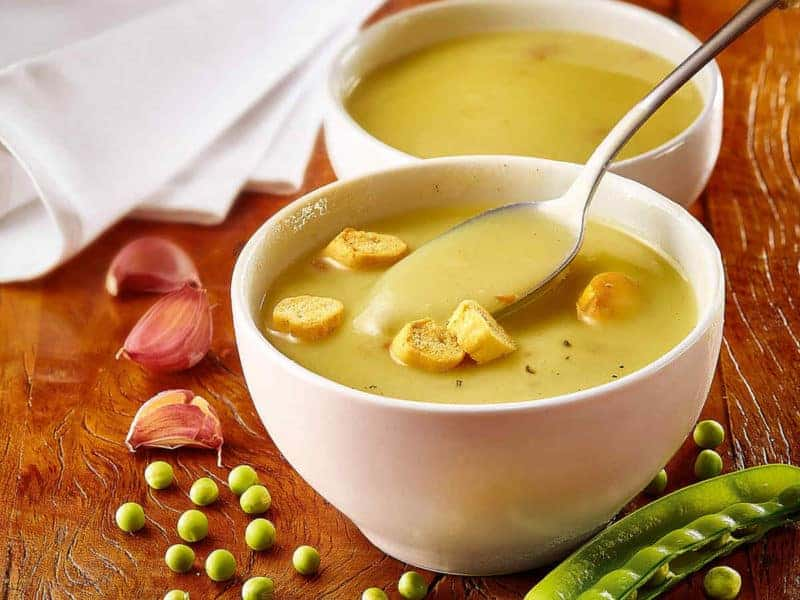 pea and ham soup in a bowl