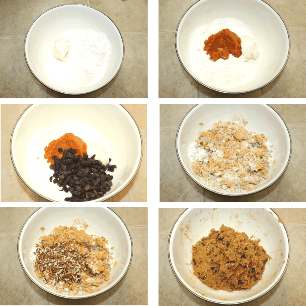collage of steps to make pumpkin, walnut and raisin muffins