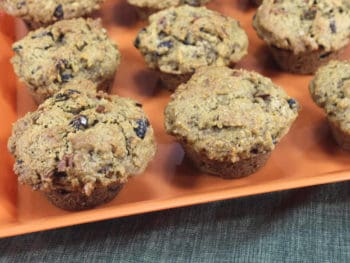 muffins with pumpkin, raisins, and pecans ready to serve
