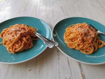 pumpkin spaghetti sauce served on plates