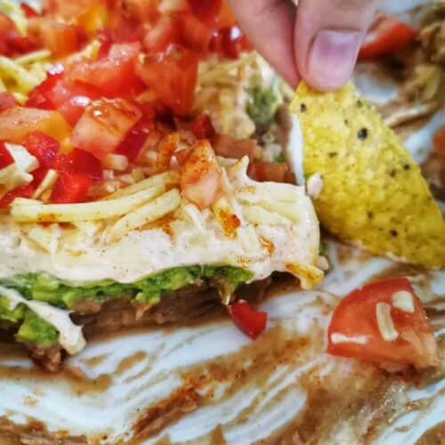 mexican sour cream dip with a nacho