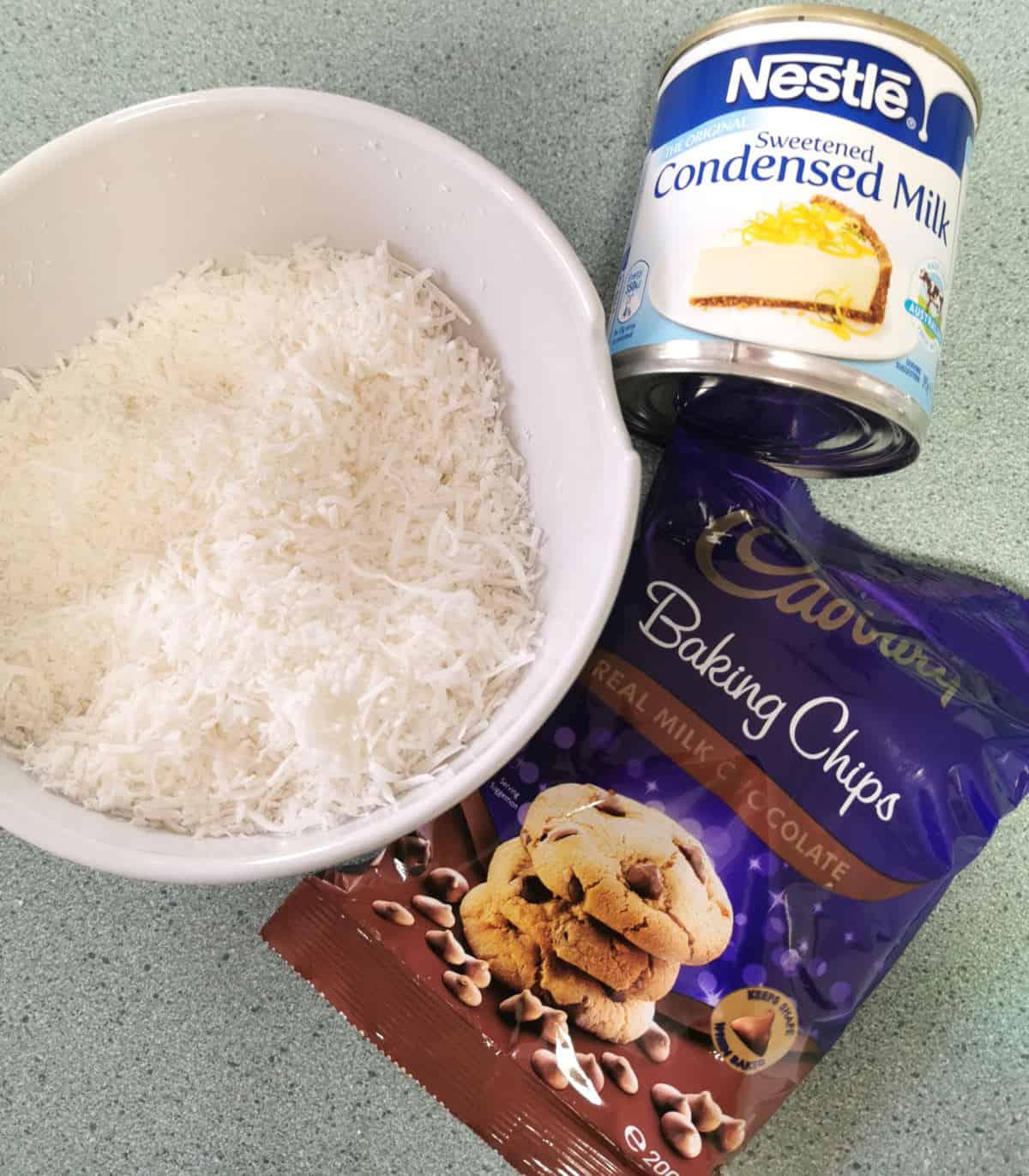 ingredients for coconut macaroons on the counter