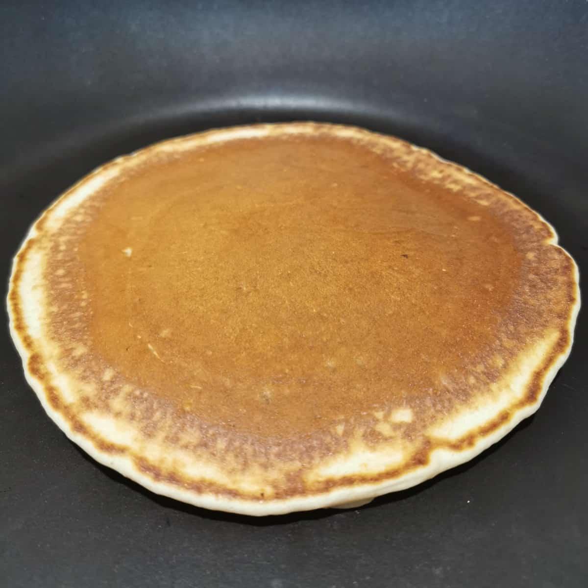Flipped pancake in the pan