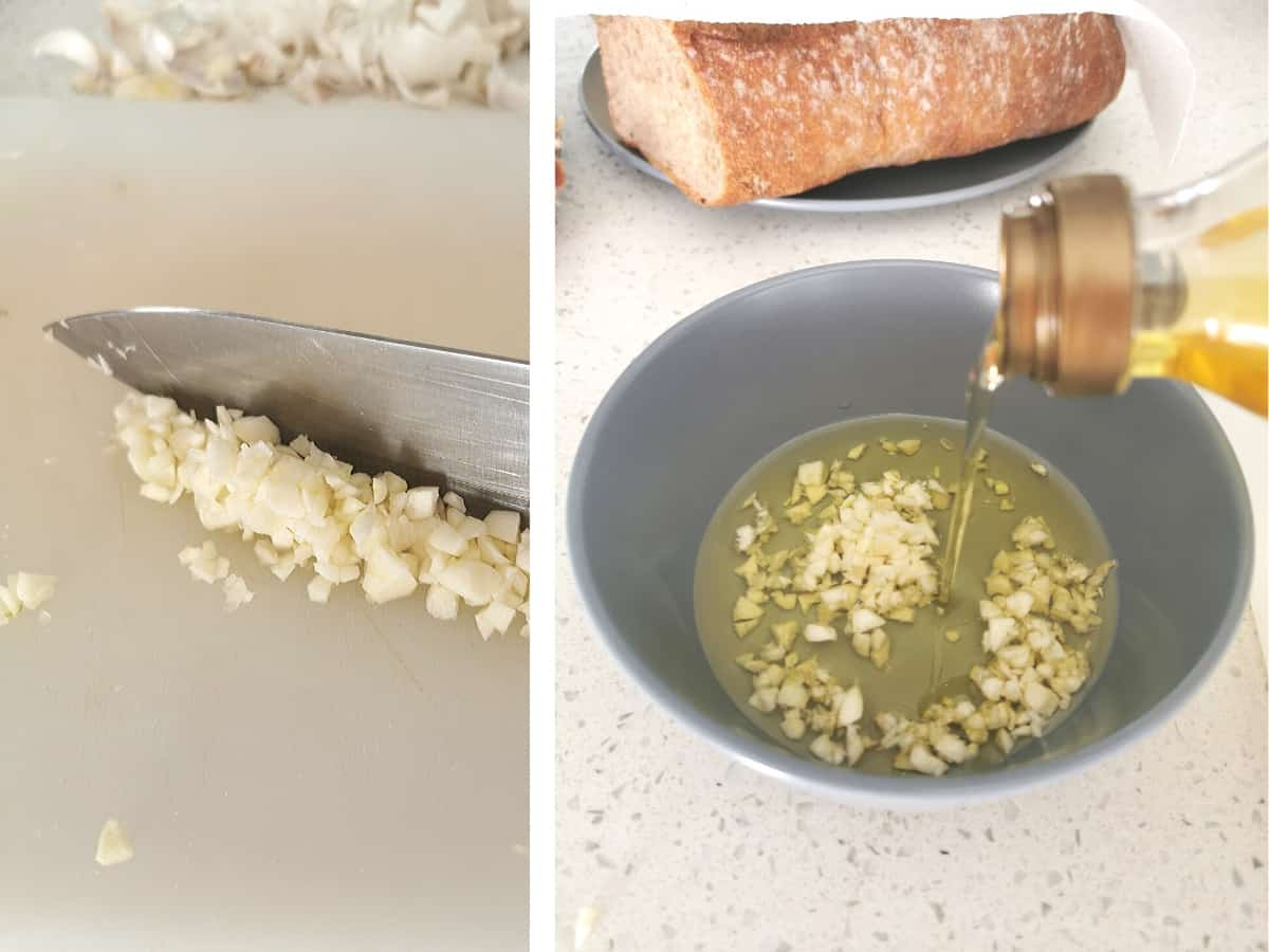 Composite image of garlic chopped finely and covered with olive oil