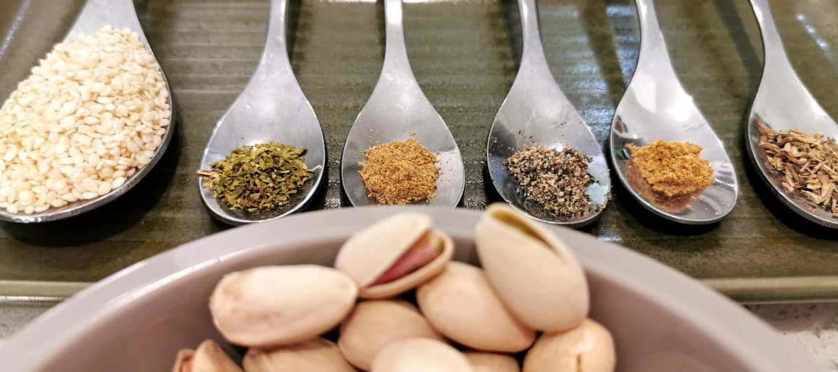 Ingredients including pistachios prepared and ready to mix