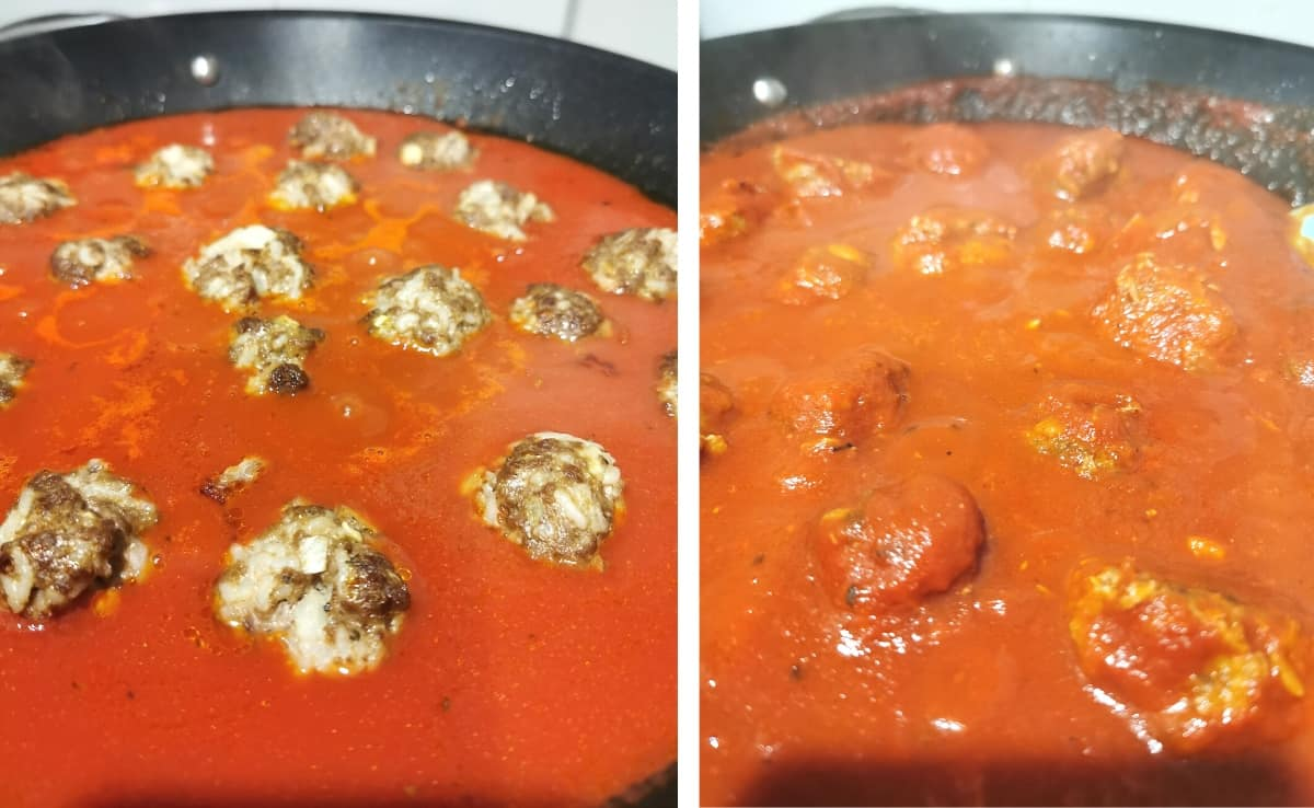 Meatballs have been baked and place in tomato sauce