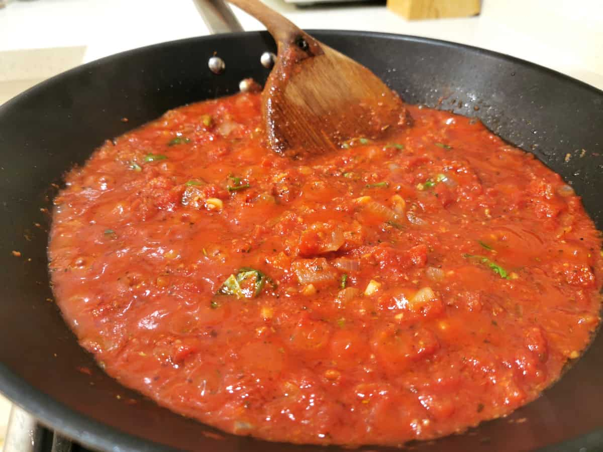 pasta sauce cooking in a frying pan