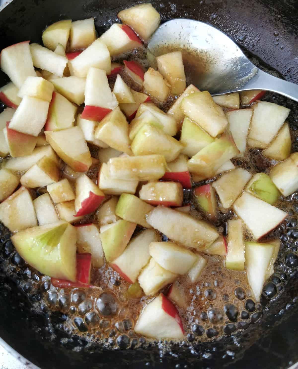 apples simmering in pan