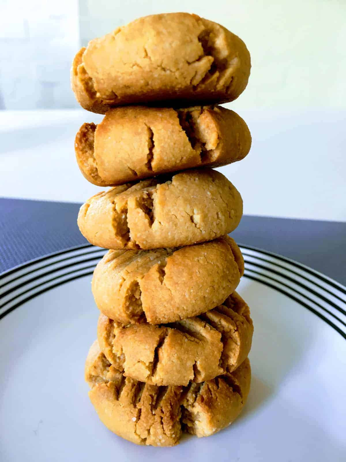 cookies stacked up on a plate